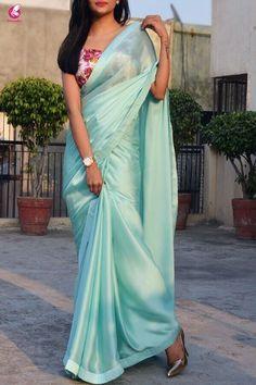 Buy Sea Green Silk Georgette Saree - Sarees Online in India Simple Sarees, Trendy Sarees, Stylish Sarees, Fancy Sarees, Satin Saree, Chiffon Saree, Velvet Saree, Indian Beauty Saree, Indian Sarees
