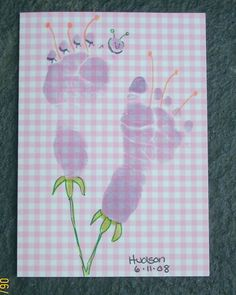 baby footprint crafts | This is a birthday card for my sister-in-law. After I stamped it I ...