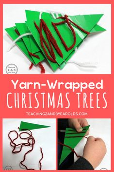It's easy to create a Christmas fine motor activity with 2 things: yarn and paper. A nice calm activity for the holidays! #Christmas #finemotor #yarn #trees #threading #holidays #preschool #age3 #age4 #teaching2and3yearolds Christmas Tree Yarn, Christmas Wrapping, Christmas Themes, Holiday Crafts, Calming Activities, Motor Activities, Preschool Activities, Christmas Activities For Toddlers, Yarn Crafts For Kids