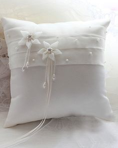 Wedding Ring Pillow in Ivory Satin with Pearl and Flowers | LynnBridal.com