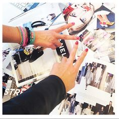 The girls from @ModeMusthaves .com are working hard on their fine looking moodboards with a whole lotta armcandy! Marijn is wearing our bracelet Amongst our Mints.. Pretty!! @elise_mm #peace #scmyk #armparty