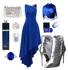 """""""Silver and Blue"""" by donnamc1 ❤ liked on Polyvore featuring Lipstick Queen, L'Oréal Paris, Nails Inc., Steve Madden, Halston Heritage, Butter London and Giuseppe Zanotti"""