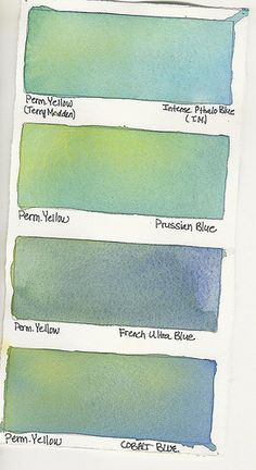 Watercolor Mixes Permanent Yellow plus: Intense Pthalo Blue Prussian Blue French Ultra Blue Cobalt Blue