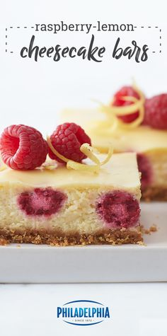 Raspberry-Lemon Cheesecake Bars – Turn your fruit and citrus dessert dreams into reality with this easy recipe. Full of vibrant flavor, this sweet treat is sure to be a favorite for spring. Merengue, Cheesecake Recipes, Lemon Cheesecake Bars, Dessert Recipes, Raspberry Cheesecake, Kraft Recipes, Dessert Bars, Delicious Desserts, Just Desserts