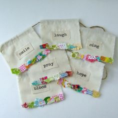 Fabric Scrap Prayer Flags, Inspiration Flags, Appliqued Flags, Fabric Pennant, Boho Gypsy flags, Fabric Banner, Happy Party Flags - No. 112