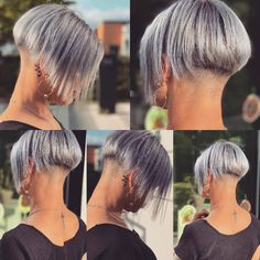 Trendy Pixie Hairstyles - Short Hair Styles for Women Stacked Bob Hairstyles, Pixie Hairstyles, Cool Hairstyles, Shaved Bob, Shaved Nape, Girl Short Hair, Short Hair Cuts, Short Hair Styles, Girls Hairdos
