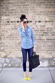 Cute denim outfit with pop of color