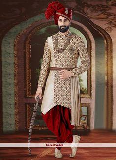 Cream ready made sherwani. Sherwani For Men Wedding, Wedding Dresses Men Indian, Sherwani Groom, Wedding Dress Men, Wedding Men, Ethnic Wedding, Punjabi Wedding, Boho Wedding, Indian Weddings