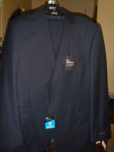 Marks & Spencer Tailoring Wool Blend Suit Blue Pinstripe Size 44 38 /29 New Tags #MarksSpencer #TwoButton