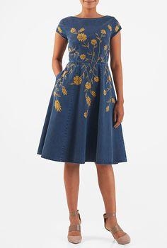 0199852800 Floral vine embellished cotton denim dress