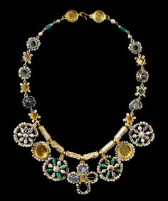 Byzantine Masterpiece Necklace, Century ADThis outstanding necklace is among the finest pieces of early Byzantine jewelry still preserved today. It is constructed of gold, beads, sapphires,. Byzantine Jewelry, Renaissance Jewelry, Medieval Jewelry, Ancient Jewelry, Antique Jewelry, Gold Jewelry, Vintage Jewelry, Viking Jewelry, Wiccan Jewelry