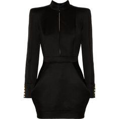 Balmain Wool-twill mini dress (€2.410) ❤ liked on Polyvore featuring dresses, vestidos, balmain, short dresses, black, mini dress, woolen dress, zipper dress and cut out back dress