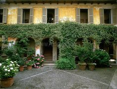This villa stands on the hills facing Lake Orta, in Northern Italy. It is called Rossi House and has been restored preserving the original 18th century frescoes and other period architectural elements