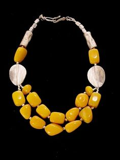 Yellow acrylic necklace Phyllis Clark Designs #contemporary #jewelry