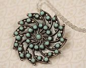 Vintage Turquoise and Sterling Silver Flower Necklace, Unique Native American Pendant, Aqua Blue, Tribal Jewelry