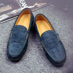 US $26 Luxury Suede Crocodile Men Loafers Slip-on Gentlemen Moccasins Soft Flat Driving Loafers Boat Shoes Red Blue Grey Size 45