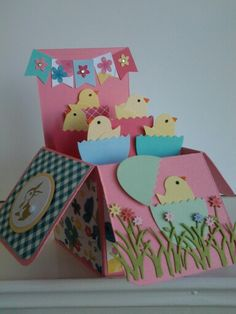 Easter chicks card in a box for Darcey.  SU ex large oval and bird punch. Impression Obsession grass die.