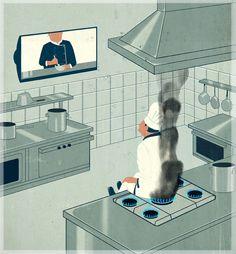 cooking lesson, Emiliano Ponzi illustration