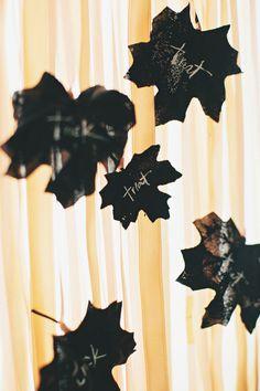 Trick or Treat Leaves #leaf, #halloween, #fall Photography: Rebecca Hansen Weddings - rebeccahansenwedd... Floral Design: Forêt Design - foret-design.com Design   Styling: Style Me Pretty - stylemepretty.com View entire slideshow: Easy Halloween Decor Ideas on www.stylemepretty...