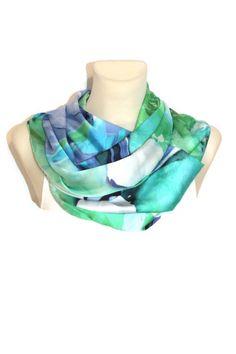 Blue Floral Scarf - Infinity Scarf - Loop Scarf - Circle Fabric Scarf - Women Shawl - Tube Unique Scarf - Fashion Shawl - Satin Scarf by LocoTrends on Etsy https://www.etsy.com/listing/183655292/blue-floral-scarf-infinity-scarf-loop