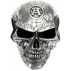 Omega Skull belt buckle by Alchemy Gothic, engraved and etched with mystical alchemical symbols and the trademark Alchemist's
