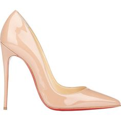 Christian Louboutin So Kate Pumps (€615) ❤ liked on Polyvore featuring shoes, pumps, heels, sapatos, christian louboutin, nude, pointed-toe pumps, nude patent pumps, christian louboutin stilettos and patent leather pumps