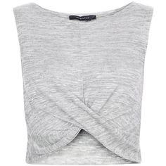 Pale Grey Fine Knit Twist Front Crop Top (145 SEK) ❤ liked on Polyvore featuring tops, sleeveless summer tops, sleeveless tops, crop top, summer tops and sleeveless crop top