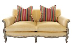 Antique Provençal-Style Settee on OneKingsLane.com Yes, its over $2000, but its antique, has good looking new upholstery plus down pillows covered in Brunschwig Fils fabric.
