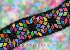 Delica Diamonds peyote bracelet pattern by PieceByNumberQuilts