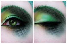 make up tips for green eyes, dragon makeup - Amy Kepler Fx Makeup, Cosplay Makeup, Costume Makeup, Makeup Inspo, Makeup Inspiration, Makeup Tips, Dragon Makeup, Dragon Eye, Green Dragon