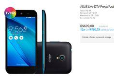 """Smartphone ASUS Live DTV Preto/Azul Tela 5"""" Camera 8Mp 16Gb << R$ 54810 em 10 vezes >>"""