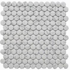 Carrara Penny Rnd Glass Mosaic (EGCARRPENNY) Penny Tile Floors, Penny Round Tiles, Tiles Online, Italian Marble, Mosaic Garden, Shower Floor, Carrara, Mosaic Glass, Round Glass