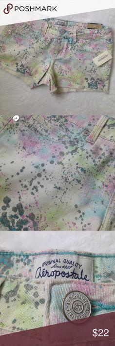 "Aeropostale paint platter shorts Aeropostale paint platter shorts. Flat lay measurements 14"" wide with 2-1/2"" inseam Aeropostale Shorts Jean Shorts"