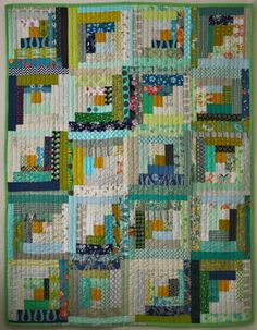 Blue Elephant Stitches: Blue and Green Scraps Log Cabin