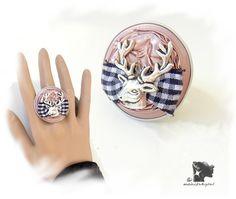 Upcycling-Ring rosé mit Hirsch von  mahita4you! auf DaWanda.com