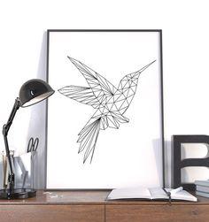 Polygon Art, Large Geometric Print, Hummingbird Black, Instant Download Wall Art
