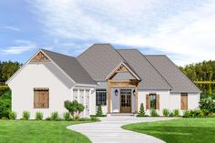 Plan Acadian House Plan With 3 Car Courtyard Garage Acadian Style Homes, Acadian House Plans, New House Plans, Courtyard Entry, Courtyard House Plans, Garage Floor Plans, House Floor Plans, European House, House Front