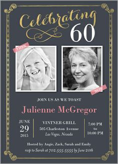 5x7 60th birthday invitation can be altered for any milestone birthday invitations celebration scrolls square corners grey stopboris