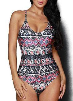 43b9c7e410cbf Dresswel Women One Piece Swimsuit Summer Swim Wear Vintage Printing Beach  Wear Swimsuit Sexy Swimwear Women Bodysuit Bathing Suit