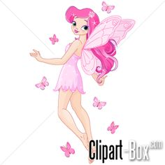 CLIPART PINK FAIRY AND BUTTERFLIES