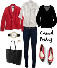 red blazer and flats; white button-up shirt; black sweater, skinny jeans, and tote