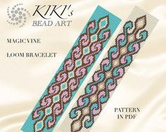 Bead loom pattern Pinkish path geometric LOOM por KikisBeadArts