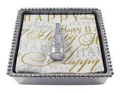 Mariposa Champagne Beaded Napkin Box