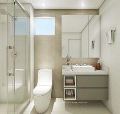 Small bathroom Dream Bathrooms, Small Bathroom, Bathroom Ideas, Powder Room, My Room, Double Vanity, Toilet, Interior Design, Mirror
