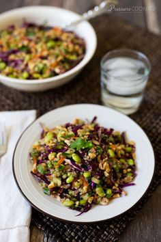 Thai Quinoa Edamame Salad loaded with fresh vegetables and dressed with a delicious Thai lime vinaigrette.