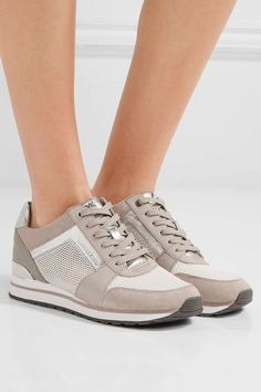 MICHAEL Michael Kors - Billie Leather And Suede-trimmed Mesh Sneakers - Beige - US