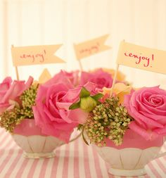 very cute favors for a shower, gather tea cups from the thrift store to mix & match.