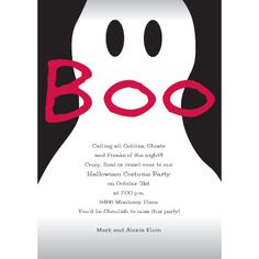 Fright Night:  A ghost design with the word BOO printed on this card sets the mood for your Halloween party.