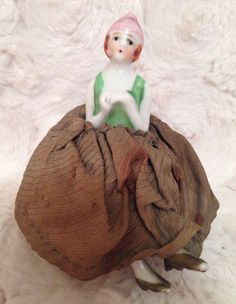 Antique Potpourri Pin Cushion Half Doll - Japan