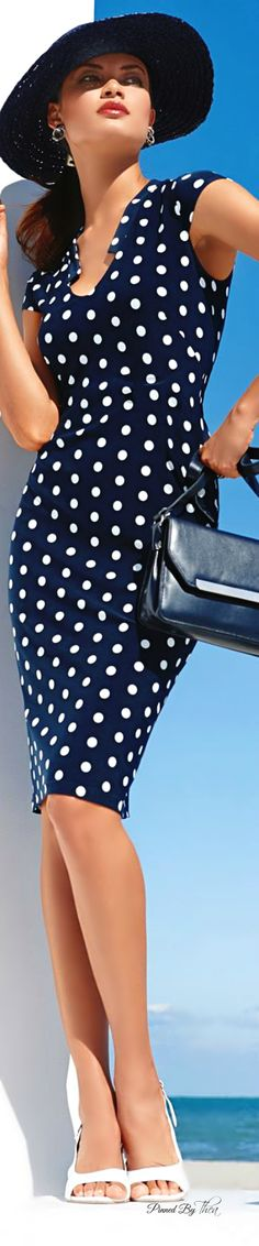 Navy + White Polka Dot Summer Dress 2015